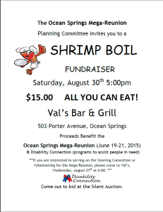 Shrimp boil flier for OSMR fundraiser